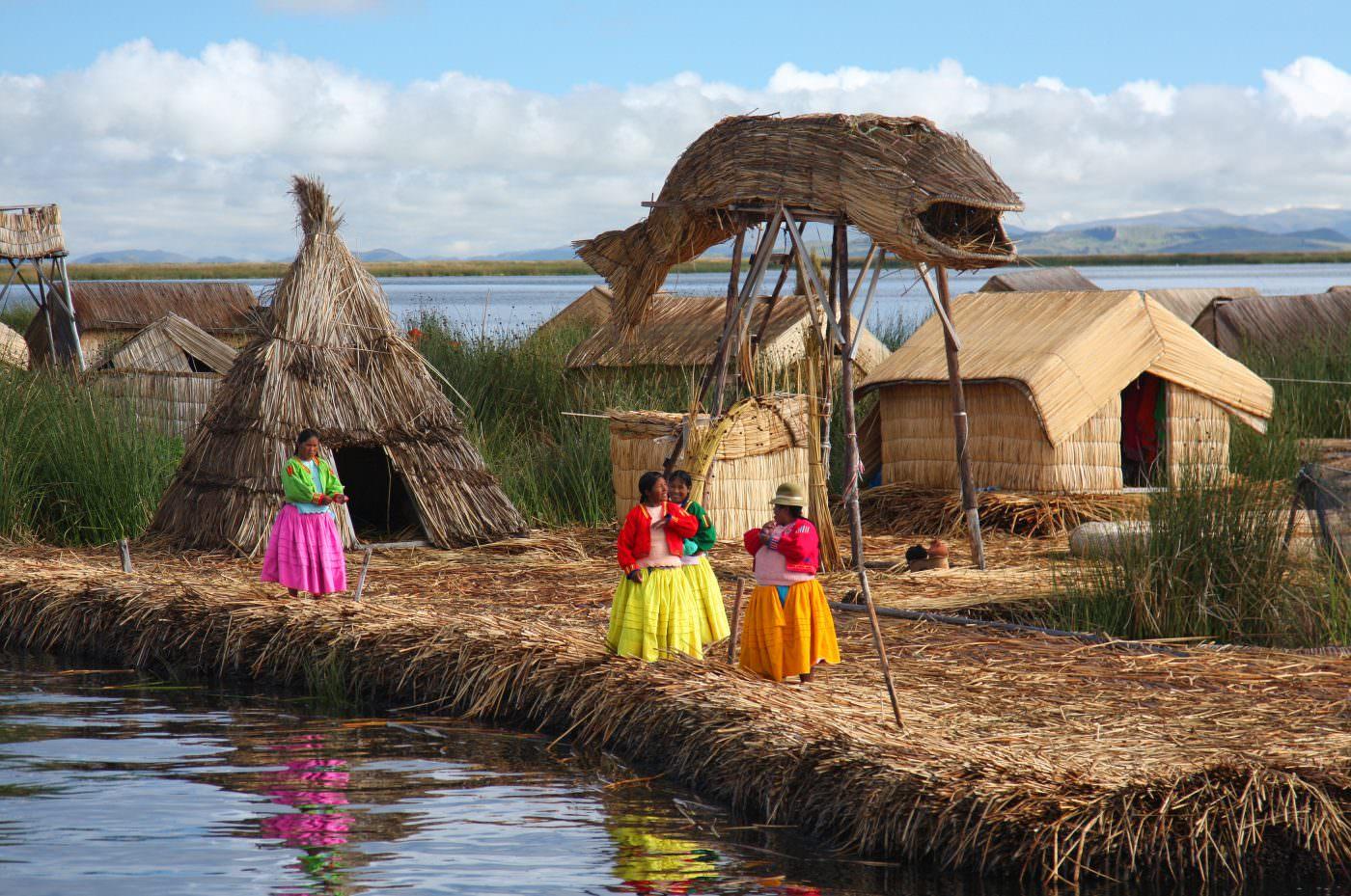 The Uros people on Lake Titicaca, Peru